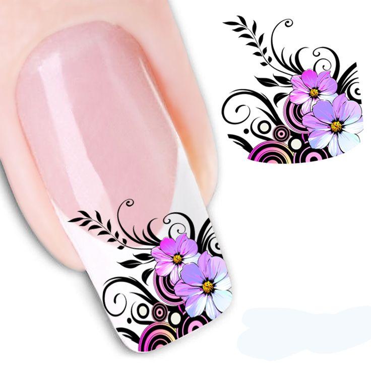 1 unids belleza del arte del clavo tatuajes de agua transferencia pegatinas para uñas flor del clavo de la flor Design herramienta de la manicura de uñas Floral pegatinas