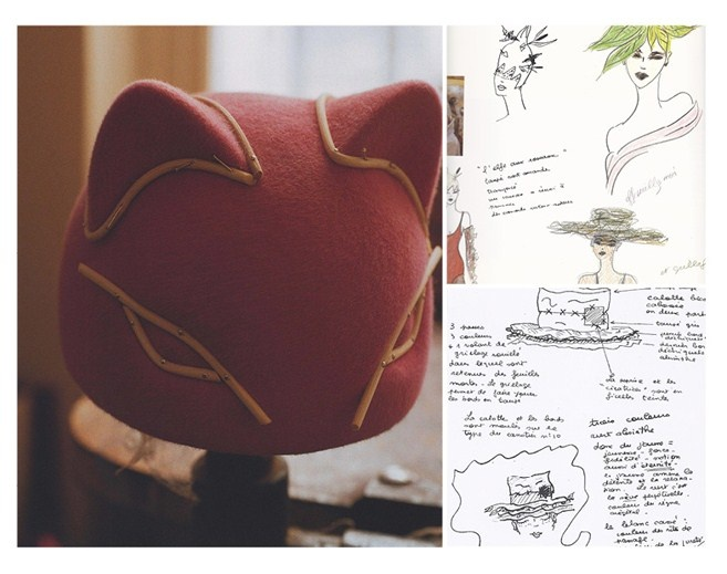 Amazing Parisian Marie Mercié's iconic Abyssin, a beret-style hat in the form of a cat's head with moulded ears and eyes