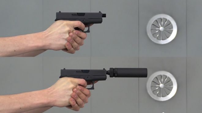 A compact suppressor for Glock 42 and SiG P238 by B&T. Item SD-988380. Glock barrel BT-15220, SiG barrel BT-15214. Requires rubber wipes and wrench to install them.