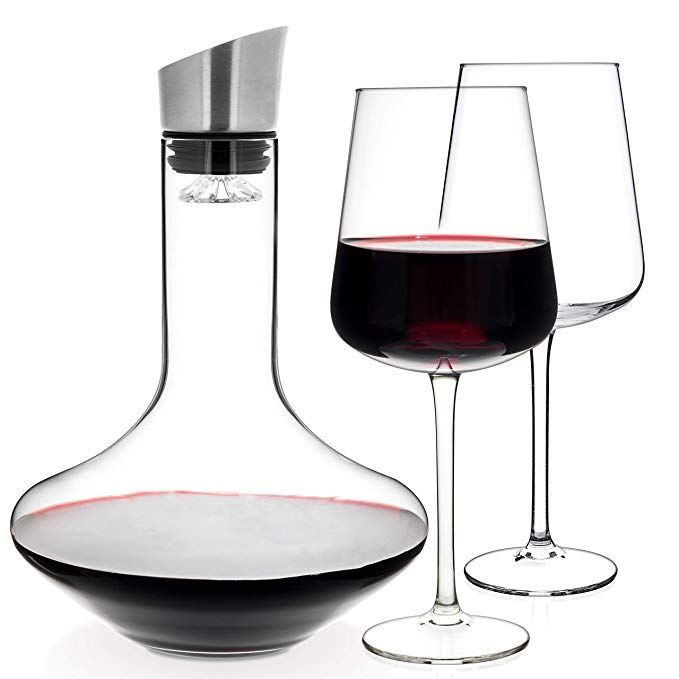 Luxbe Wine Decanter 50 Ounce And Aerator Pourer Lid With Two Crystal Glasses Set Hand Blown Lead Free Crystal Glass Red Wine Carafe Descanter With Stai Wine Decanter Wine Carafe Decanter