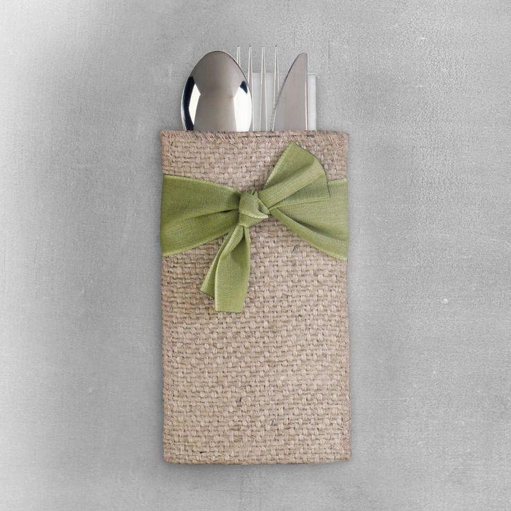 Burlap Silverware Holders - Burlap Ribbons – Cutlery Couture