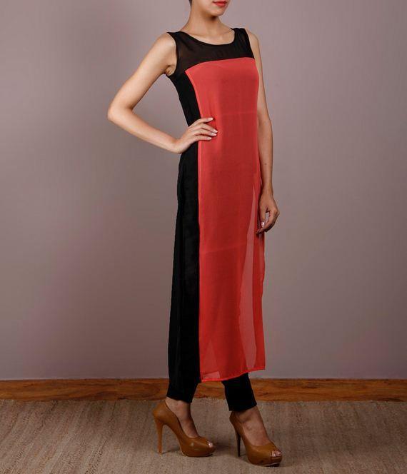 Orange & black without sleeves #GeorgetteKurti brand Popnetic