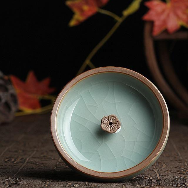 Ceramic Disc Shape Burner Tray Yoga Aroma Therapy Decoration