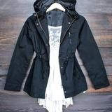 womens hooded utility parka jacket with drawstring waist in black - large / black