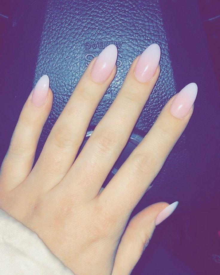 Soft French  #gel #nails #almond #pinkandwhite