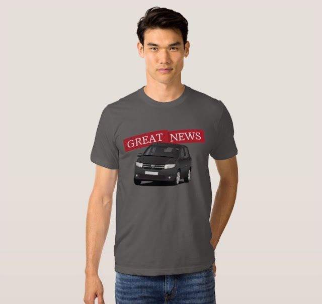 Great news! Dacia Sandero illustrations on t-shirts.  #dacia #sandero #daciasandero #illustration #carillustration #tshirt #black #romanian #automobiles #cars #greatnews #captainslow #topgear