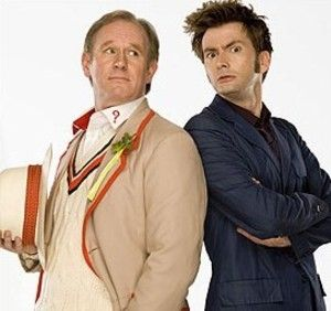 """Doctor 10 with the Fifth Doctor. (In real life, this is Davids father in law- Peter Davison is Georgia Moffatts dad!) And they met when she played the doctors daughter on the episode of the same name... If that's not """"wibbly wobbly timey wimey stuff"""" I don't know what is!"""