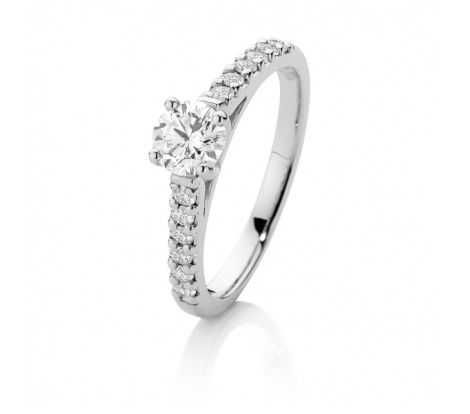 Canadian Fire diamonds are true to their origin and come with a certificate of origin. The centre diamond in this ring is a Canadian Fire 1/2ct set in 18ct white gold with claw set diamonds on the shoulders of the ring. There is a total of 0.75ct of diamonds in this contemporary engagement ring