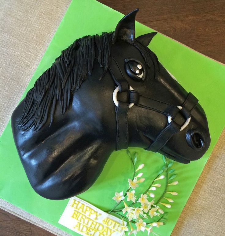 Black Beauty Horse Head Cake With Sugarpaste Freesias
