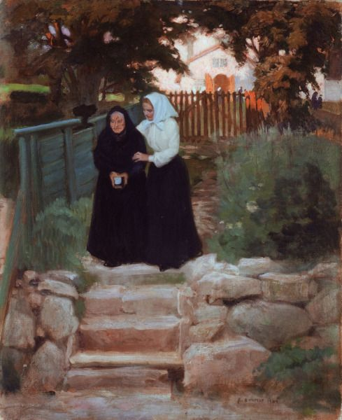 ALBERT EDELFELT (1854-1905): Beside Porvoo Cathedral 1902 (On the Way Home from Church) - Porvoon Tuomiokirkon Vierellä 1902 (Kotimatkalla Kirkosta)