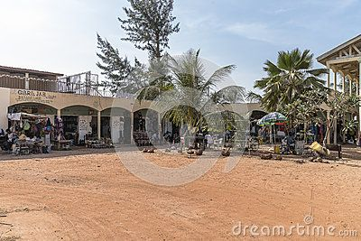 Square with shops and bars in a resort hotel in Serrekunda, Gambia