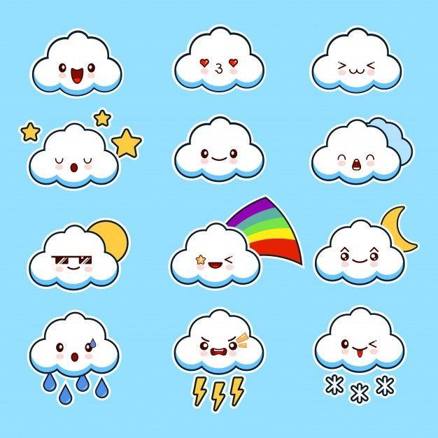 Lindas Nubes Sonrientes Con Caras Vector Premium Vector Freepik Vector Nube Dibujos Animados Ci Dibujitos Sencillos Caritas Kawaii Para Dibujar Nubes