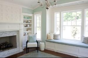 reverse bay windows: Wall Colors, Window Benches, Fireplaces Design, Living Rooms, Paintings Colors, Window Shades, Palladian Blue, Benjamin Moore, Window Seats