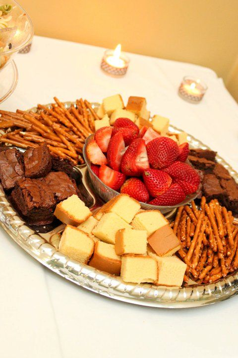 Baby shower food table - Dessert tray for chocolate fondue fountain