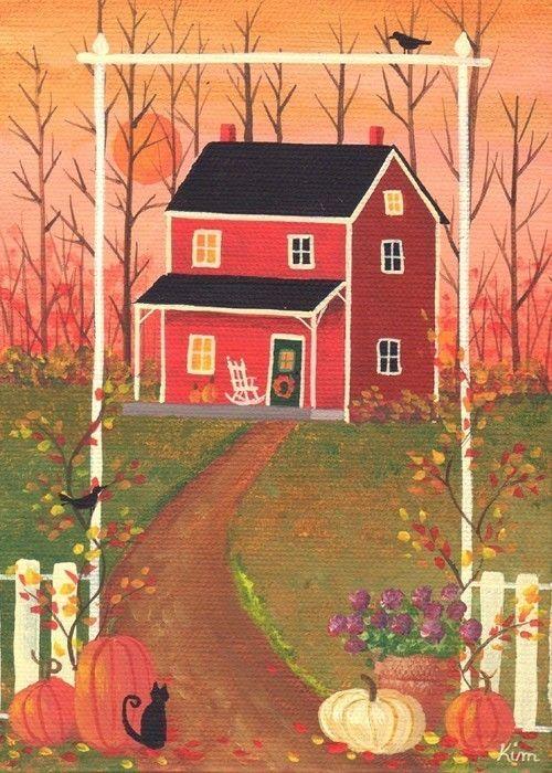 Bienvenido otoño casa arte popular impresión por KimsCottageArt