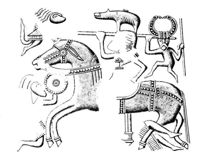 El 'guerrero caído' clava su spatha en el vientre del caballo  de su matador. Diseño de la chapa de recubrimiento del casco de la tumba VII de Valsgarde. Cultura Germánica nórdica. Ante quem 675 d.C