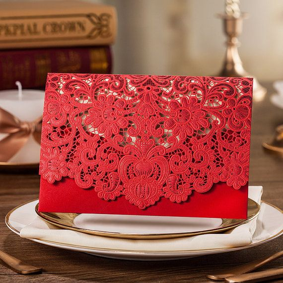 Red Lace Wedding Invitation With Floral Design    About The Cards:  1) Item:Printable Unique Wedding Invitation Cards  2) Themes: Royal Red Lace