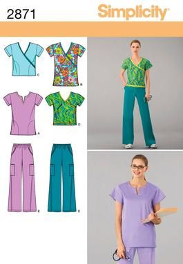 Womens Scrub Tops and Pants Sewing Pattern 2871 Simplicity