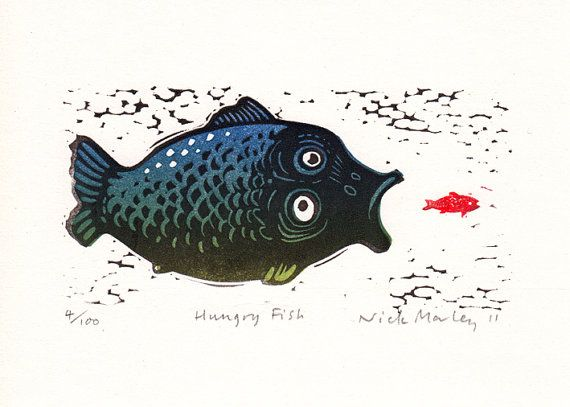 Linocut relief print Hungry Fish limited edition original hand-pulled print