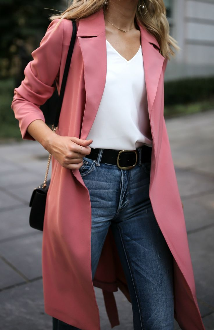 My Favorite Budget-Friendly Denim Destination // Pink trench coat, silk  v-neck blouse, blue high waisted jeans, black embroidered purse {Express, Alexandre Birman, casual Friday, creative office style}