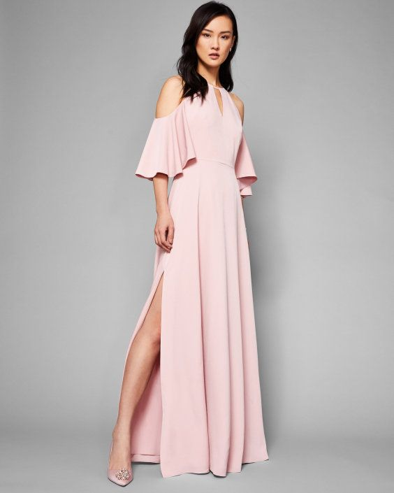 Cut-out shoulder maxi dress - Dusky Pink | Dresses | Ted Baker UK