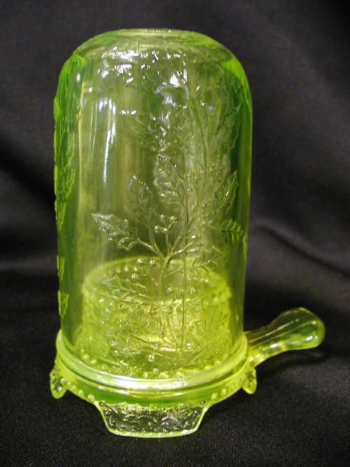 Vaseline Glass Fairy Lamp.  vaseline glass literally glows a green or a yellow under a black light