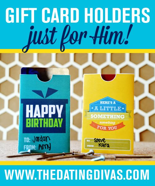 FREE printable gift card holders for HIM- several to choose from.