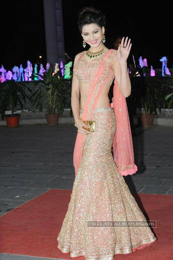 Urvashi Rautela stuns in designer Jyotsna Tiwari outfit nicely paired with Golecha jewels at the wedding reception of Tulsi Kumar and Hitesh Ralhan, held at Sahara Star, on March 02, 2015 (BCCL/Prathamesh Bandekar)See more of : Urvashi Rautela
