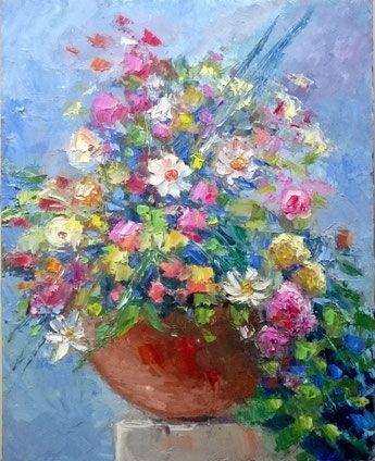 Vaso di fiori olio su tela 50x40 (Codice F12)