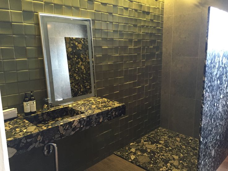 Gemelli Diversi Verde by Climabase on wall, Black Marinace Granite vanity, shower wall and floor. ace Sunshine Coast. www.acestone.com.au