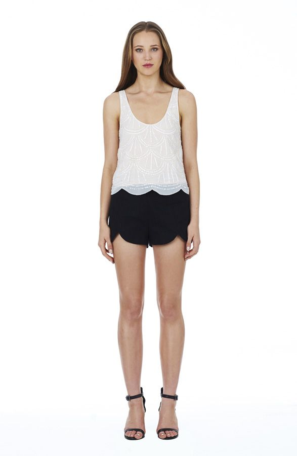 Sabine Top in Champagne with Gardenia Short in Black