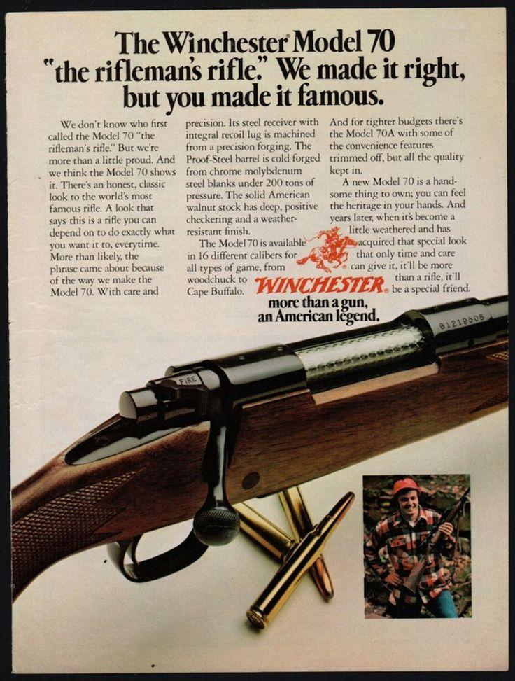 1977 WINCHESTER Model 70 Rifle AD The Rifleman's Rifle Firearms Advertising #Marlin http://riflescopescenter.com/category/nikon-riflescope-reviews/