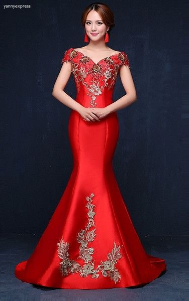 Chinese Wedding Embellished Mermaid Gown - YannyExpress  - 1