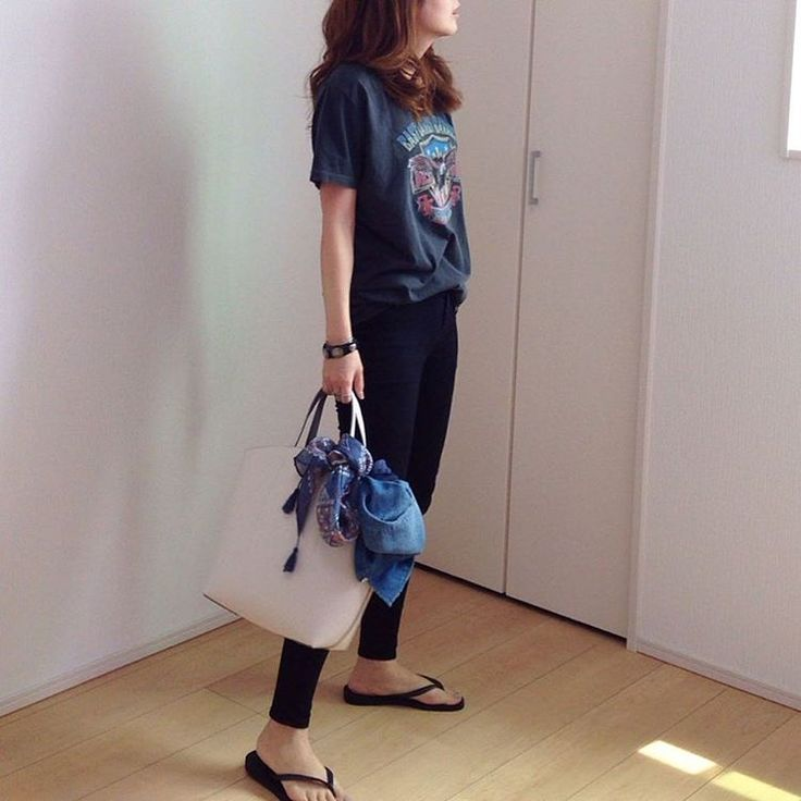 t-shirts #ungrid pants, bag #zara denim shirts #todayful sandals #havaianas accessory #deuxiemeclasse