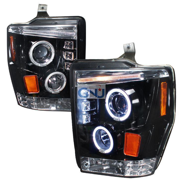 Ford Super Duty  2008-2010 Gloss Black Halo Projector Headlights Smoke Lens