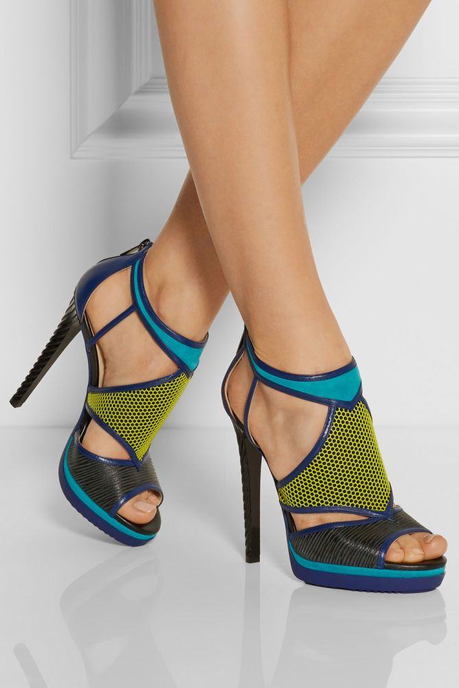 JIMMY CHOO Lythe Honeycomb Leather and Suede Sandals - Shoes Post