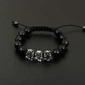 Браслет шамбала из натуральных камней Три обезьяны (черный агат)