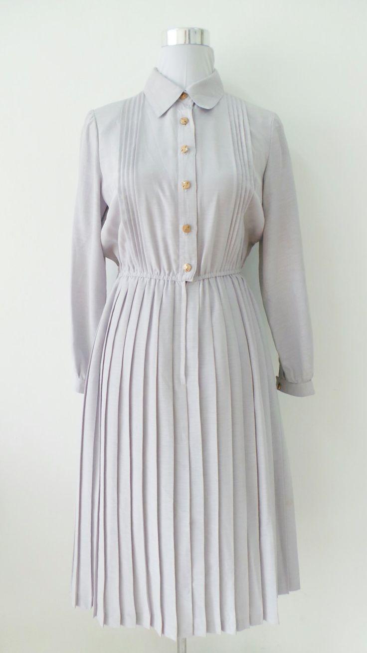 Vintage Dress, 80's Japanese. Plain Purple Grey Vintage Dress by UsFaminnile on Etsy