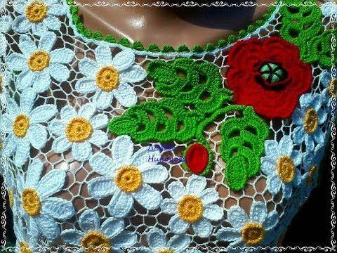 Como Hacer Blusas en Crochet Tejidos de Flores con Hojas - YouTube