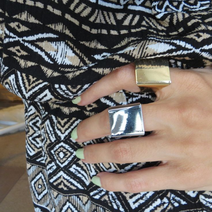 $10 Box Ring in Your Choice of Gold Or Silver  - Square statement ring