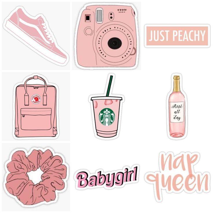rosa pfirsichfarbene Aufkleber – Stickers