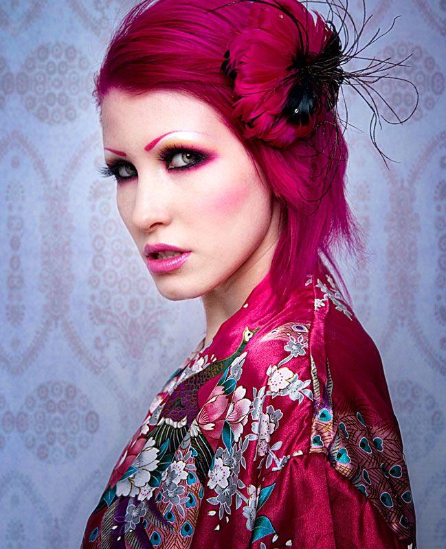 Pink hair and makeup
