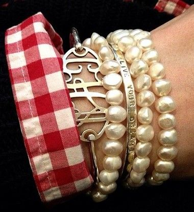 Southern style pearl & monogram stacking.