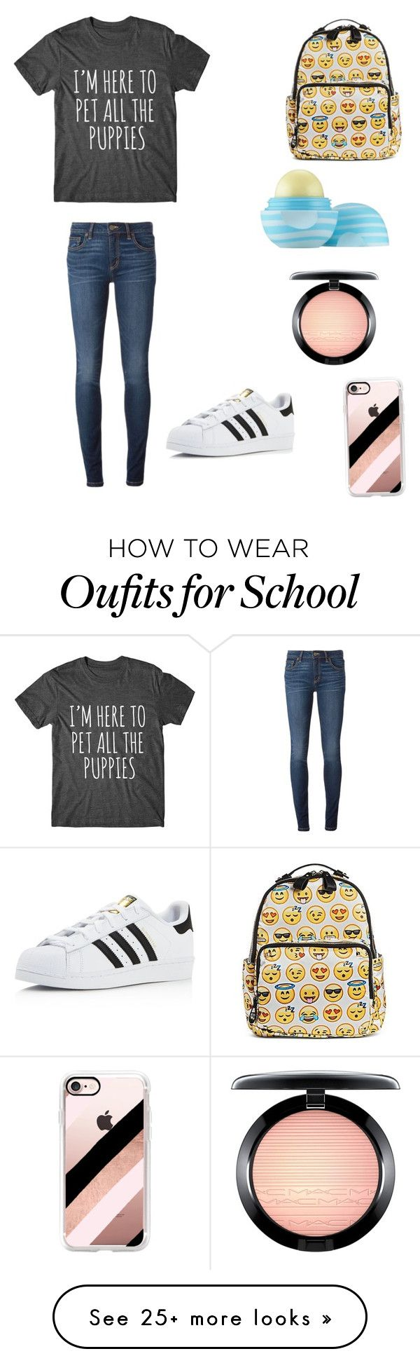 """""""Day at school"""" by pinkdoggy on Polyvore featuring MMS Design Studio, Marc by Marc Jacobs, Eos, MAC Cosmetics, Casetify and adidas"""