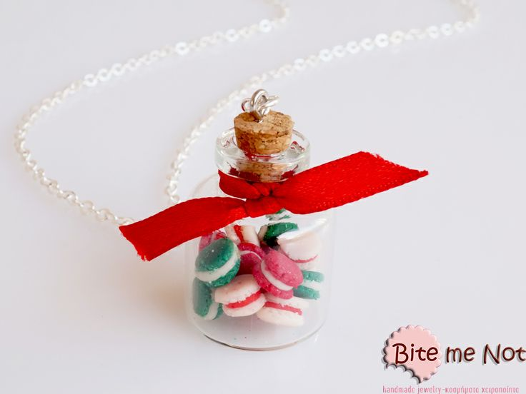 ''Christmas macarons'' -Silver plated long chain necklace!  -Glass bottle decorated with red satin ribbon and filled with christmas macarons (green-red-champagne)