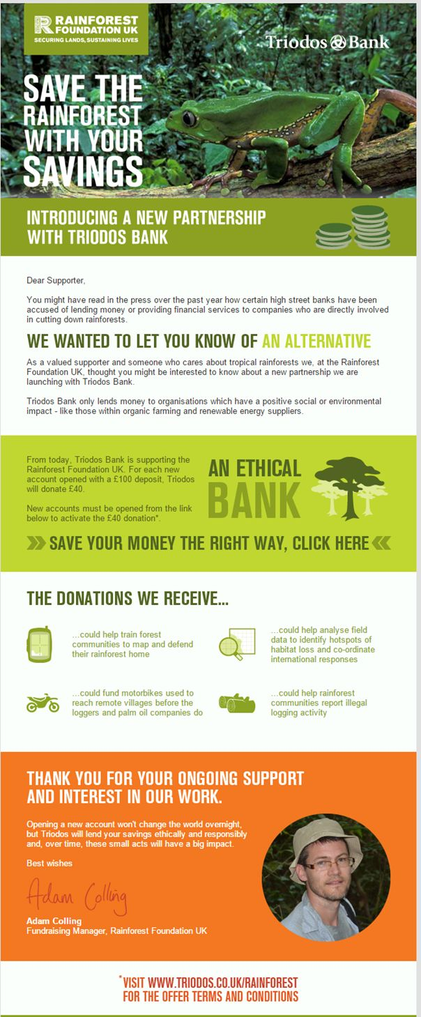 Save the rainforest with an ethical Triodos bank account. No todos los bancos son iguales.