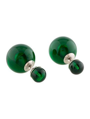 Christian Dior Green Mise en Dior Tribal Earrings