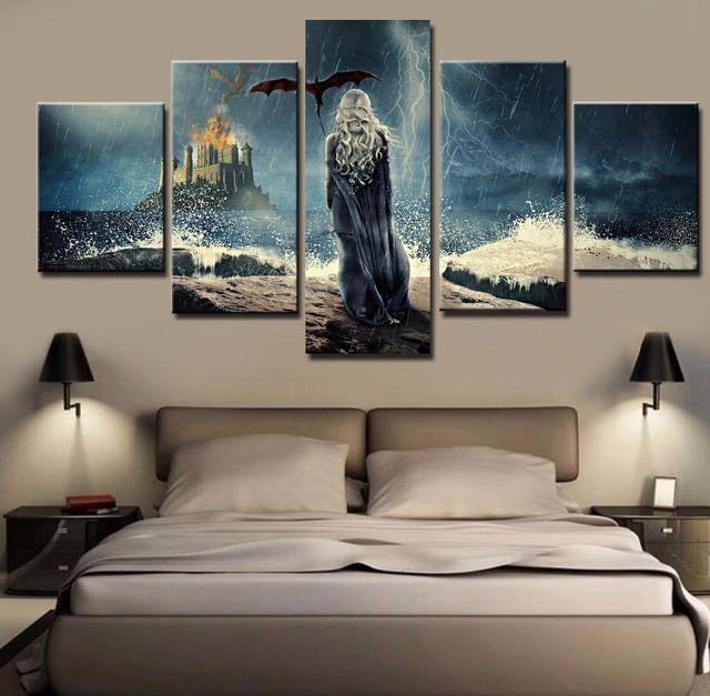 Nueva 5 Unidades de Impresión HD Large Modern Impreso Juego de Tronos pinturas al óleo sobre Lienzo Arte de La Pared para la Decoración del Hogar Decoración de La Pared Obras de Arte