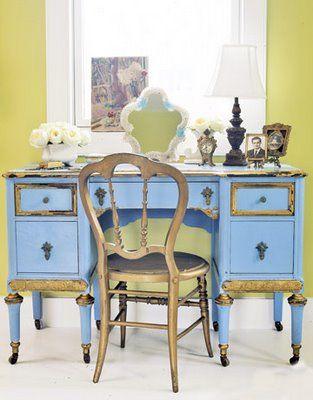 boho vintage desk: Shabby Chic, French Fleas, Fleas Marketing Finding, Cottages Colors, Fleas Marketing Decor, Home Offices, Blue Desks, Gold Desks, Fleas Marketing Style