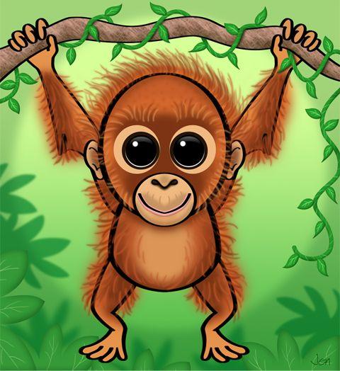 cute cartoon baby orangutan RAINFOREST
